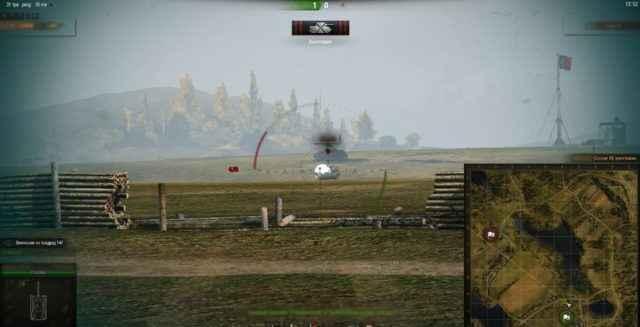 Белый круг в месте попадания в танк врага без засвета