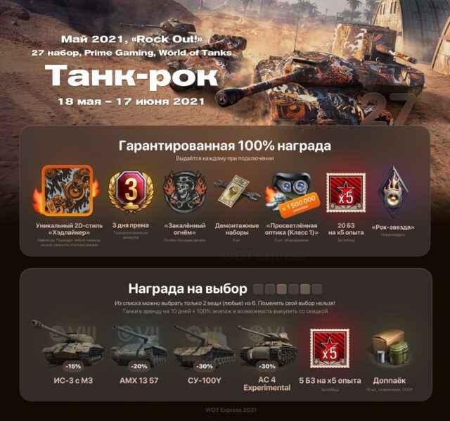 27 пакет WOT «Танк-рок» (Rock Out!) за Апрель 2021 | Twitch Prime/Prime Gaming World of Tanks. Акция: Прямой эфир